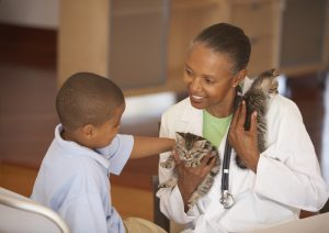 Vet and kid with cat